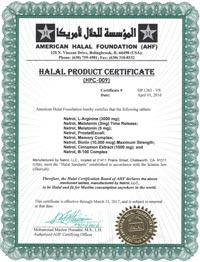 Natrol American Halal Foundation Halal Product Certificate