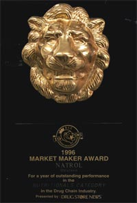Natrol Drug Store News Market Maker Award for Melatonin for a year of outstanding performance in the Nutritionals Category in the Drug Chain Industry 1996