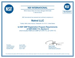 NSF International GMP Certified NSF/ANSI Standard 173, Section 8 Dietary Supplements - Jordan Avenue Facility