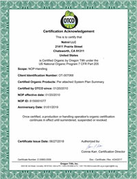 Natrol OTCO Certification Acknowledgement: Certified Organic under the U.S. National Organic Program