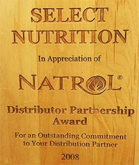 Natrol Select Nutrition Distributor Partner Award 2008