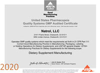 USP Audited Certificate for Melatonin and Biotin