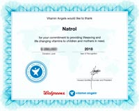 Natrol Vitamin Angels Top Donor Recognition 2018