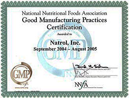 Natrol is GMP-certified 2004