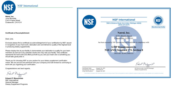 Natrol becomes NSF certified 2011